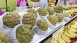 2021年9月20日,在台灣台北的一個水果攤上的釋迦。